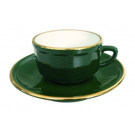 [⌀75mm] Tasse Moka empilable et sa soucoupe - Flora Vert empire filet Or