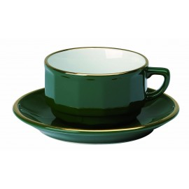 [28cl] Tasse déjeuner empilable - Flora vert empire filet Or
