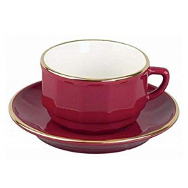 [22cl] Tasse chocolat empilable et sa soucoupe - Flora Rouge filet Or