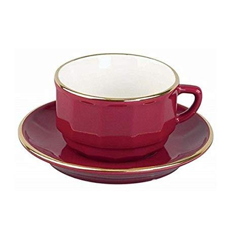 [22cl] Tasse chocolat empilable - Flora Rouge filet Or