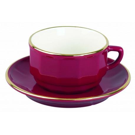 [28cl] Tasse déjeuner empilable - Flora Rouge filet Or
