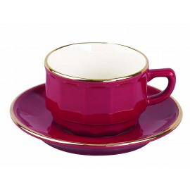 [15cl] Tasse thé empilable et sa soucoupe - Flora Rouge filet Or