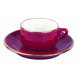 [9cl] Tasse Moka empilable et sa soucoupe - Flora Rouge filet Or