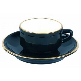 [9cl] Tasse Moka empilable - Flora Noir filet Or