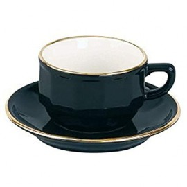 [28cl] Tasse déjeuner empilable - Flora Noir filet Or