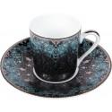 [8cl] Tasse café et sa soucoupe - Dhara bleu