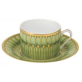 [16cl] Tasse thé et sa soucoupe - Arcades vert
