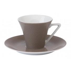 [14cl] Tasse café Europe et sa soucoupe - Seychelles Taupe
