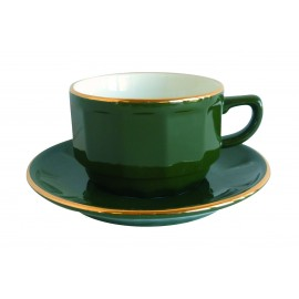 [⌀93mm] Tasse chocolat empilable et sa soucoupe - Flora Vert empire filet Or