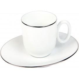 [9cl] Tasse moka et sa soucoupe - Épure platine