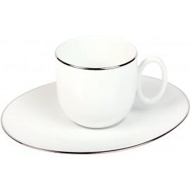 [12cl] Tasse café et sa soucoupe - Épure platine