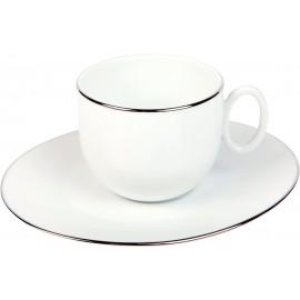 [19cl] Tasse thé et sa soucoupe - Épure platine
