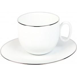 [33cl] Tasse déjeuner et sa soucoupe - Épure platine