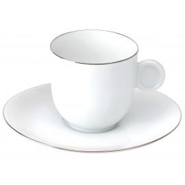 [8cl] Paire tasse café et sa soucoupe - Galet platine