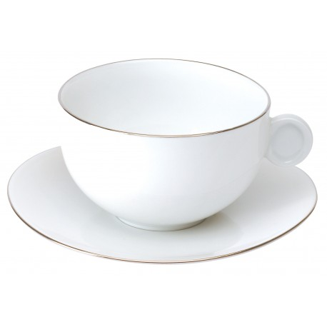 [17cl] Tase thé et sa soucoupe - Galet platine