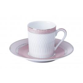 [8cl] Tasse café et sa soucoupe - Margot rose