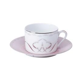[16cl] Tasse thé et sa soucoupe - Margot rose