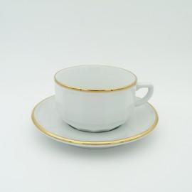 [28cl] Tasse déjeuner empilable et sa soucoupe - Flora Blanc filet Or
