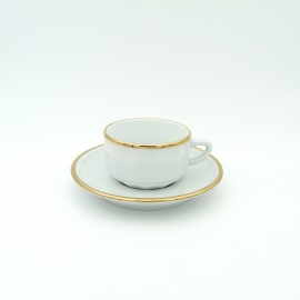 [9cl] Tasse moka empilable et sa soucoupe - Flora Blanc filet Or