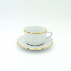 [15cl] Tasse thé empilable - Flora blanc filet Or