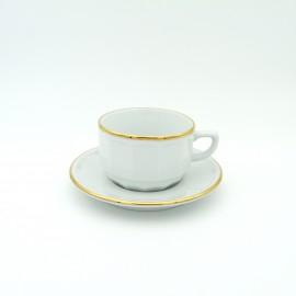 [15cl] Tasse thé empilable - Flora blanc filet Or