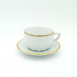 [22cl] Tasse chocolat empilable et sa soucoupe - Flora Blanc filet Or