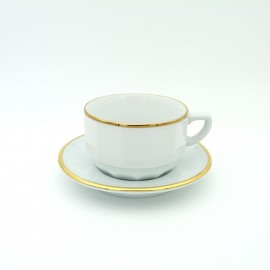 [⌀93mm] Tasse chocolat empilable et sa soucoupe - Flora Blanc filet Or