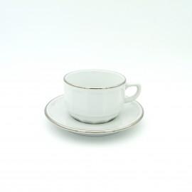 [15cl] Tasse thé empilable et sa soucoupe - Flora Blanc filet Platine