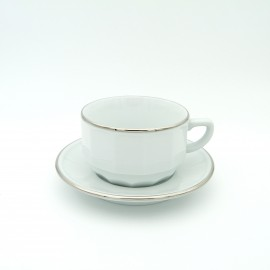 [22cl] Tasse chocolat empilable et sa soucoupe - Flora Blanc filet Platine