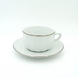 [28cl] Tasse déjeuner empilable et sa soucoupe - Flora Blanc filet Platine