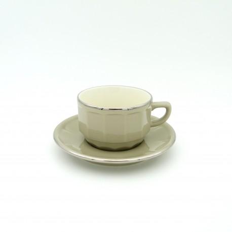 [15cl] Tasse thé empilable et sa soucoupe - Flora Taupe filet Platine