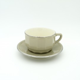 [22cl] Tasse chocolat empilable et sa soucoupe - Flora Taupe filet Platine