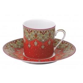 [8cl] 2x Tasses cafés et leurs soucoupes - Coffret Dhara