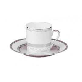 [13cl] Tasse café Europe et sa soucoupe - Margot rose