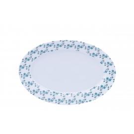 [400x275 mm] Plat ovale - Fleurs bleues