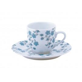 [8cl] Tasse café et sa soucoupe - Fleurs bleues