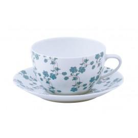 [35cl] Tasse déjeuner et sa soucoupe - Fleurs bleues