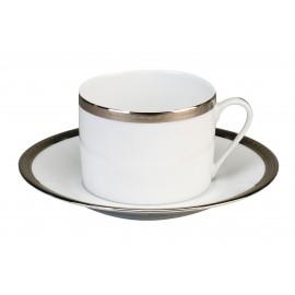 [15cl] Tasse café Europe et sa soucoupe - Versaille platine