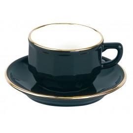 [15cl] Tasse thé empilable et sa soucoupe - Flora Noir filet Or
