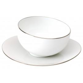 [17cl] Tasse thé sans anse et sa soucoupe - Galet Platine