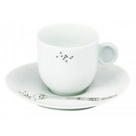 Tasse café et sa soucoupe (avec anse)